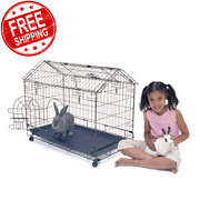30 Rabbit Metal Cage Pet A Frame Indoor Rabbits Small Bunny House Pen W/ Wheels