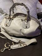 Horsebit Ivory Leather Satchel W/signature Bamboo Handles And Strap New