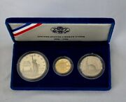 U. S. Cased Proof 3 Coins Uncirc.1986 Gold 5 Sterling Half-dollar Silver 1