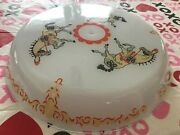 Vintage Childs Room Circus Horses Ceiling Fixture 16 Round Light Shade