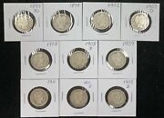 Ten Silver Barber Quarters 25𝇍 With Dates