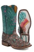 Tin Haul Co. Womenand039s Painted Warrior Cowboy Boots Headdress Sole Sz 7 8 9 10 11