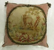 Antique French Aubusson 18th Century Pillow Size 2and039x2and039