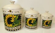 """Susan Winget Sunflower Set Of 3 9"""", 7"""" And 6"""" Ceramic Kitchen Canisters"""