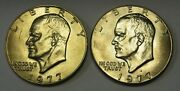1977 P And 1977-d Bu Eisenhower Ike Dollars Nice Premium Quality Coins For You