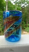 1981 Signed Norm Thomas Studio Art Glass Blue Tumbler Early Work