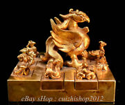 6 Rare Old China Copper 24k Gold Gems Dynasty Palace Phoenix 10 Seal Stamp Set