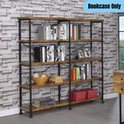 Rustic Industrial 4-shelf Bookcase Large Wide Open Decor Display Storage Brown