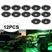 12xled Rock Lamp Under Body Trail Rig Bar Green Pods Fit Jeep Atv Off-road Truck
