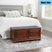 Wooden Cedar Chest Decorative Bedroom Storage Furniture Large Compartment Brown