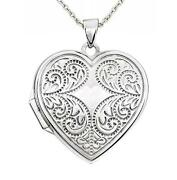 14k White Gold Heart Locket Vintage Inspired Scroll Detail Holds 2 Pictures