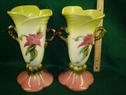 A Pair Of Hull Pottery Woodland Vases W18 10.5''