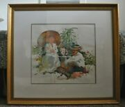 Charles Reid Watercolor Tea For Two Framed 40 X 36.5