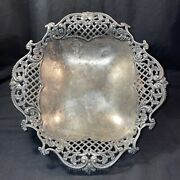 Antique Middletown Plate Quadruple Silver Hard White Metal Gilt 65 Footed Bowl