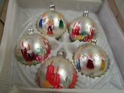 Vtg Beautiful Hand Painted Glass Ball Christmas Ornaments W/ Angels Candles Box