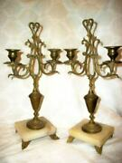 Antique French Marble Brass Candelabra Pair Farmhouse Victorian 19th C.