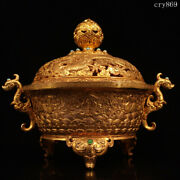Rare China Qing Dynasty Old Antique Inlaid With Gems Gilding Dragonand039s Ear Censer