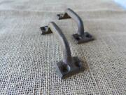 Lot Of 2 Antique Drawer Pulls Handles Cast Iron Metal Cabinets Knobs With Screw