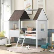 Cute Twin Low Loft Wood House Bed With Two Side Windows Kids Teens Bedroom Us