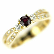 Secondhand K18yg Ruby Diamond Ring 0.45ct D0.18ct Jewelry Nj Postage Service