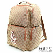 La Angels Patch Gg Canvas Backpack Large Day Pack Mens Embroidery 552872