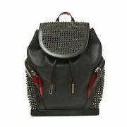 Christian Louboutin Studded Leather Backpack Black Mens Day Pack Secondhand