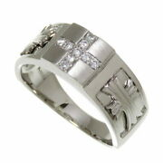 No.18 Cross/cross Menand039s Ok Partially Matte Diamond Total 0.12ct Ring Pt900