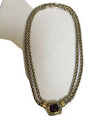 """David Yurman Faceted Amethyst Albion Double Wheat Chaine 151/2"""" 14k,sterling 925"""