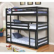 Space Saving Black Finish Solid Wood Twin Triple Bunk Bed