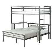 Twin Full Size Grey Metal With Desk Bunk Bed