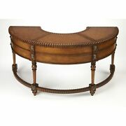 Crescent Shape Brown Hand Carved Desk With One Center And Four Side Drawers