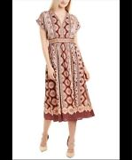 Gal Meets Glam Midi Dress Wine/taupe Floral Pattern Size 2 Nwt Discontinued