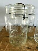 Vtg Ball Ideal - Quart Mason Canning Jar Lot Of 5 - Clear Wire Bail And Glass Lid