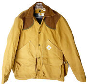 Vintage Hunting Jacket Size Medium Blanket Lined Coat Game Pouch-guc