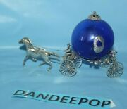 Cinderella Coach Carriage Horse Vintage Sterling Silver With Cobalt Blue Glass