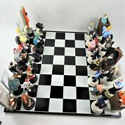 Rare Doug Anderson Artist Law And Order Chess Set Handmade Signed Limited Ed Art
