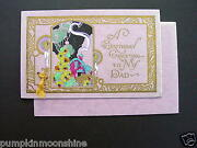 Unused Vintage Birthday Greeting Card Hand Painted And Gold Embossed, Stunning