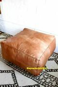 X-large Leather Footstool Moroccan Genuine Leather Ottoman Hassock