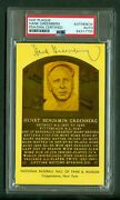 Hank Greenberg D'1986 Autographed Yellow Hall Of Fame Plaque Postcard Psa/dna