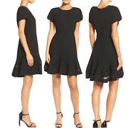 Chelsea28 Womenandrsquos Fit And Flare Mixed Media Little Black Dress Size Medium Lbd