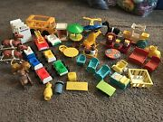 Vintage Fisher Price Little People Lot Rare King Queen Carriage Furniture Bus