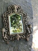 Antique Art Nouveau Ornate Brass Beveled Mirror 2 Candle Wall Sconce