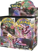 Pokemon Sword Shield Rebel Clash Factory Sealed Booster Box Containing 36 Packs