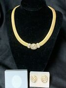 Authentic Christian Dior Rhinestone Choker Necklace W/matching Clip Earrings Box