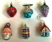 Vtg Lot 6 Christmas Ornaments Feather Santa House Grapes Strawberry 1950s 1960s