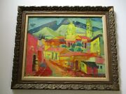 Fritz Schwaderer Oil Painting Large Mexico Modernist Expressionist Bright Bold