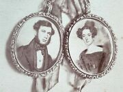 American 1875 Cabinet Card Photo Of Ancestor Miniature Paintings Ribbon Antique
