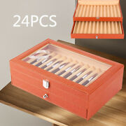 Fountain Pen Leather Storage Collector Display Box 2 Layer Organizer 4 Slots