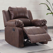 Manual Recliner Chair Sofa Air Leather Overstuffed Seat Living Room Furniture Us