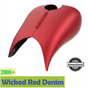Wicked Red Denim Stretched Tank Cover Fits 08+ Harley Touring Street Road Glide